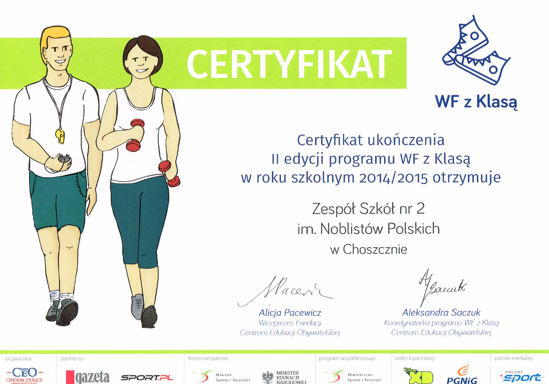 WF z Klasą Certyfikat